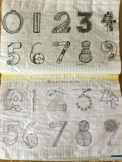 Ideas For Sewing Numbers, III: this is how I sketch ideas.