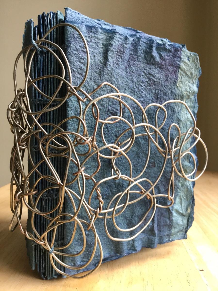 Brooklyn artist, handmade paper, indigo, artist book, book arts