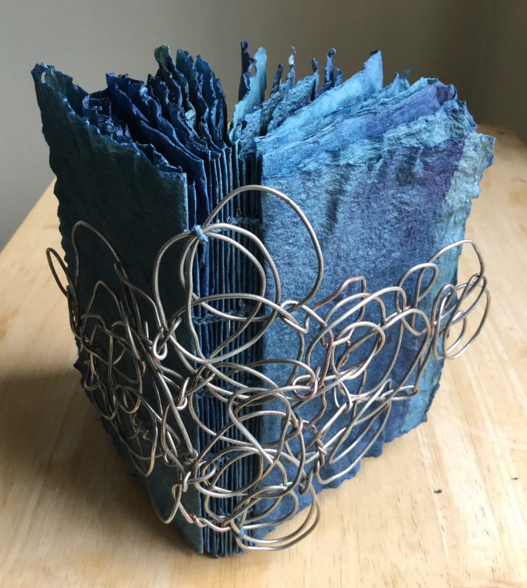 Brooklyn artist, indigo, handmade paper, artist book, book arts