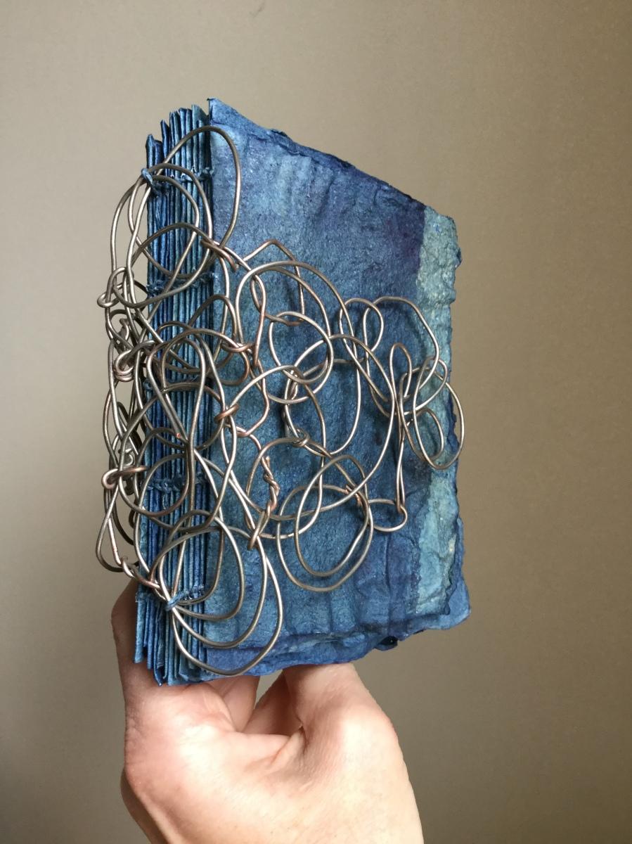 Book arts, artist book, indigo, handmade paper, brooklyn artist