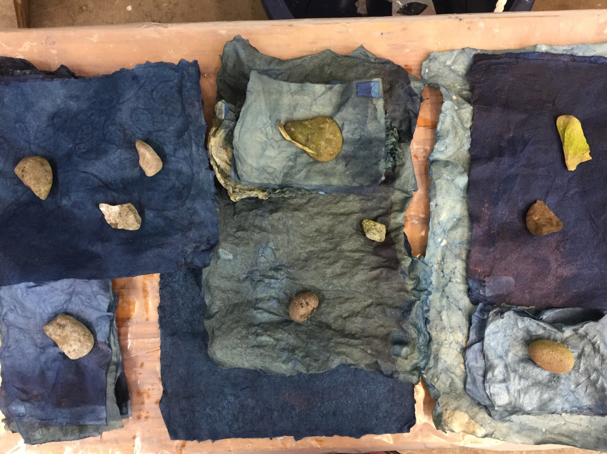 Brooklyn artist, handmade paper, indigo, Women's Studio Workshop
