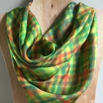 Gold Green Plaid Silk Scarf Leaf_victoriabdesignshop_Etsy.jpg