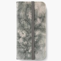 iphone wallet grey silk leaf_victoriabdesign on Redbubble