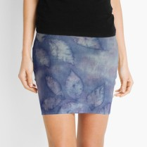 mini skirt blue purple silk leaf_victoriabdesign on Redbubble