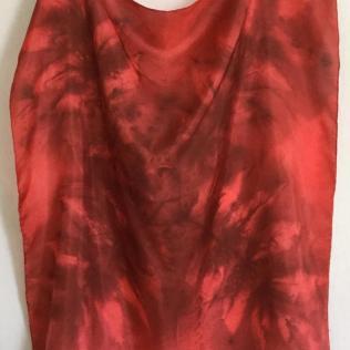Red Brown Leaf Silk Scarf Leaf_victoriabdesignshop_Etsy.jpg