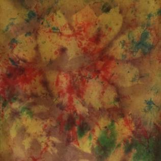 Red Gold Green Silk Scarf Leaf_victoriabdesignshop_Etsy